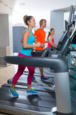 Gym treadmill group running indoor — Stock Photo