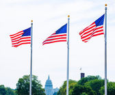 Washington Monument flags and Capitol DC USA — Foto Stock