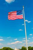 Washington Monument flag and Capitol in DC USA — Stock Photo