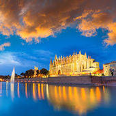 Palma de Mallorca Cathedral Seu sunset Majorca — Stock Photo