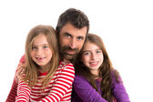 Happy family beard father and two daughters — Stock Photo