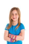Loom rubber bands bracelets blond kid girl — Stock Photo