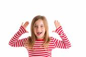 Blond indented kid open mounth hands happy — Stock Photo