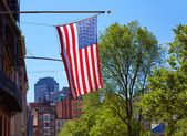 American flag in Boston downtown Massachusetts — Stock Photo