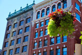 Boston streetlight flowers at Copley Square — Stock Photo