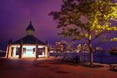 Boston skyline at sunset Piers Park Massachusetts — Stock Photo
