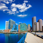 Boston skyline from Seaport boulevard bridge — Stock Photo