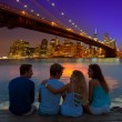 Friends group rear view at sunset fun New York — Stock Photo #70621981