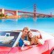 Selfie of young couple convertible car Golden Gate — Stock Photo #70624241