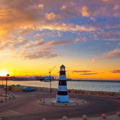 Denia sunset lighthouse at dusk in Alicante — Stock Photo