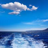Denia San antonio Cape in Alicante boat wake — Fotografia Stock