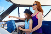Kid girl pretending be a sailor with her mother — Stock Photo