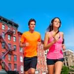 Couple running in New York city photo mount — Stock Photo #75577923