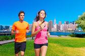 Couple running in New York photo mount — Stock Photo