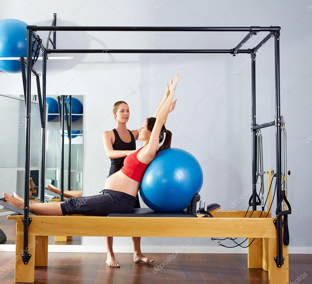 Woman Pilates Chair Exercises Fitness Stock Photo: Pregnant Woman Pilates Reformer Fitball Exercise