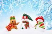 Kerstmis achtergrond met sneeuwmannen — Stockfoto