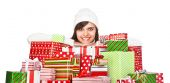Beautiful girl with Christmas gifts — Stok fotoğraf