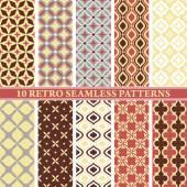 Uppsättning 10 retro seamless mönster — Stockvektor