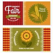 County fair vintage invitation cards — Stock Vector
