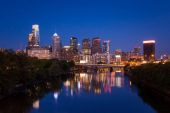 Night view of the Philadelphia skyline in pennsylvania — Stockfoto