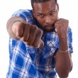 African American man on a boxing position - Black people — Stock Photo #56494243