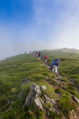 Hiker group trekking in Chamonix Mont blanc in France — Stock Photo