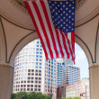 USA flag in The financial district of Boston - USA — Stock Photo #58459147