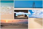 Picture montage of Boavista island landscapes  in Cape Verde arc — Stock Photo