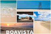 Picture montage of Boavista island landscapes  in Cape Verde arc — Stock Photo