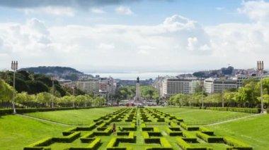 Timelapse of Edward vii park in Lisbon, Portugal - UHD — Stock Video