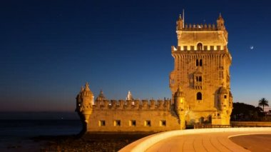 Night timelapse of the Belem Tower in Lisbon - Portugal - UHD — Stock Video