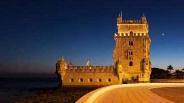 Night timelapse of the Belem Tower in Lisbon - Portugal - UHD — Stok video