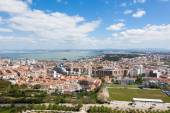 Aerial view of Almada rooftop from Christo Rei statue — Stock Photo