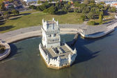Aerial view of Belem tower - Torre de Belem  in Lisbon, Portugal — Foto de Stock