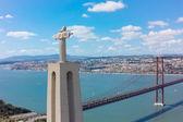 Aerial view Jesus Christ monument watching to Lisbon city — Zdjęcie stockowe