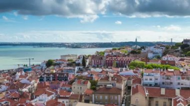 Timelapse of Lisbon rooftop from Sao Vicente de fora church — Stock Video