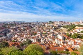 Lisbon rooftop from Sao Jorge castle viewpoint — Stock Photo