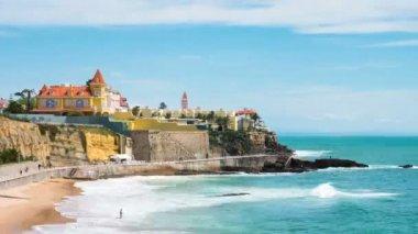 Timelapse of Estoril coastline  near Lisbon in Portugal — Stock Video