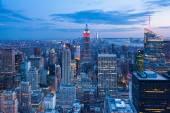Luchtfoto nacht uitzicht op de skyline van Manhattan - New York — Stockfoto