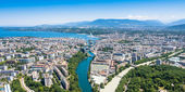 Aerial view of  Geneva city in Switzerland — Stock Photo