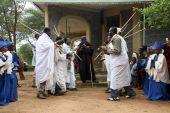 Celebration in orthodox ethiopian christian church. — Stock fotografie