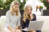 Women outside with tablet — Stock Photo