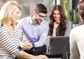 Business team working on lapotp — Stock Photo