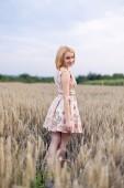 Chica en un campo de trigo — Foto de Stock