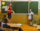 Pupil and teacher — Stock Photo