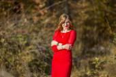 Girl red dress — Stock Photo