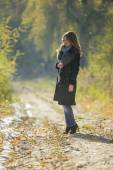 Girl in a fur coat — Stock Photo
