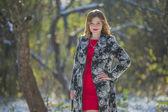 Girl in coat — Stock Photo