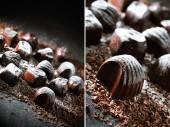 Dark Chocolates Montage — Stock Photo