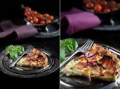 Бекон и сыр Киче Montage — Стоковое фото